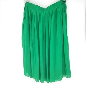 Roz and Ali, pleated midi green skirt, large